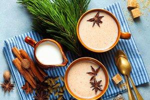 Masala tea chai latte traditional ho
