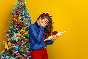 stressed woman unhappy with Christmas present