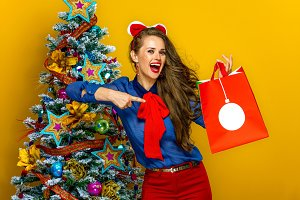 smiling elegant woman pointing at Christmas shopping bag