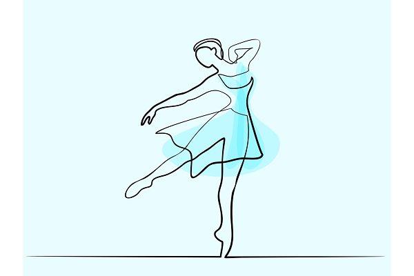 Ballet Dancer Ballerina One Line Pre Designed Illustrator Graphics Creative Market