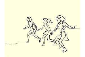 three runners - continuous line drawing