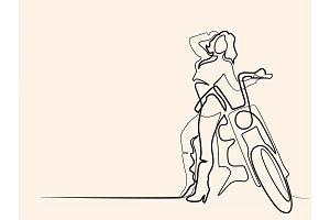 Woman standing near motorbike