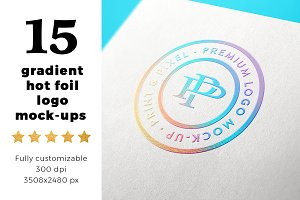 15 gradient hot foil logo mock-ups