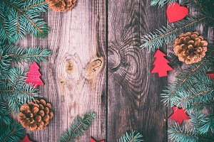 wood background with green spruce