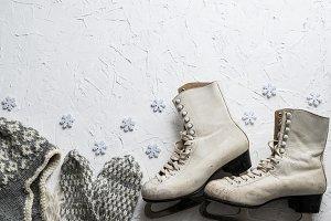 Women's ice skates flatlay III