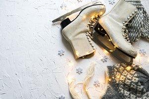 Women's ice skates flatlay VII