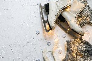 Women's ice skates flatlay VIII