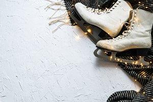 Women's ice skates flatlay IX
