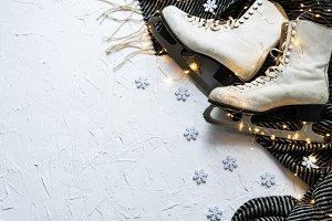 Women's ice skates flatlay X