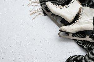 Women's ice skates flatlay XI