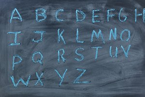 Alphabet letters in Blue Chalk