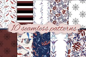 Set of Snowy seamless patterns