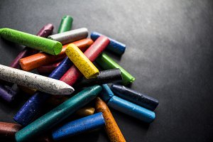 Crayons In A Pile