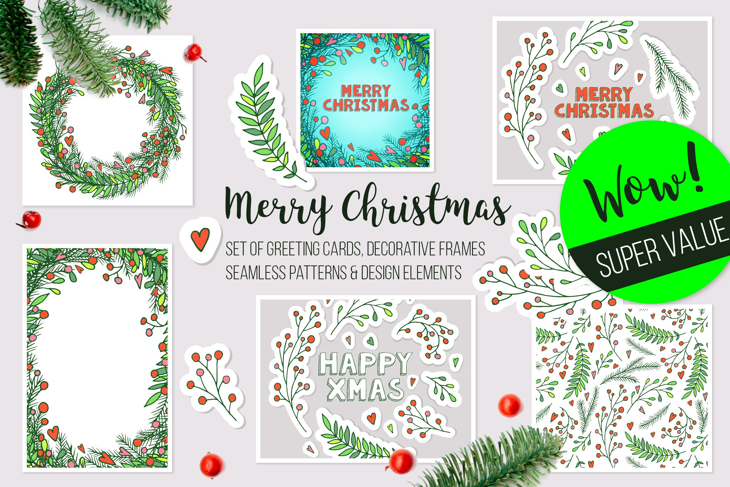 Christmas vector frames, elements ~ Illustrations ~ Creative Market