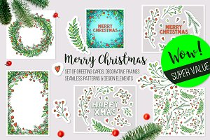 Christmas vector frames, elements