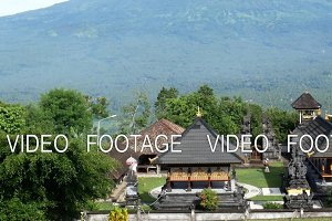 Pura Lempuyang temple with Mount Agung in the background in Bali, Indonesia