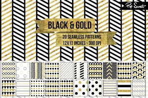 Seamless Black and Gold Pattern Set