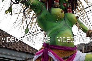 UBUD, BALI, INDONESIA - MARCH 27, 2017: Balinese New Year, parade of the Ogoh-Ogoh monsters, Nyepi.