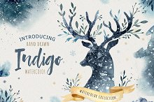 Indigo watercolor collection