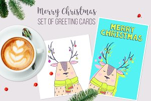 Christmas cards - cute deer
