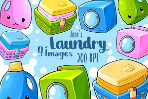 Kawaii Laundry Clipart