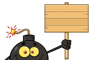 Bomb Holding A Wooden Blank Sign