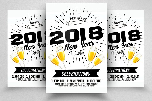 Happy New Year Flyer-Graphicriver中文最全的素材分享平台