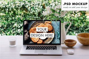 Outdoors desktop, laptop PSD mockup