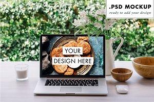 Outdoors desktop, laptop PSD mockup