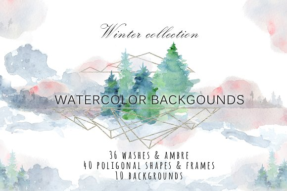 Winter watercolor backgroun-Graphicriver中文最全的素材分享平台