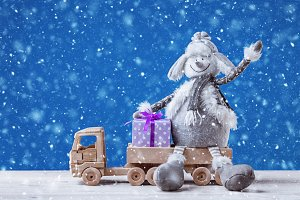 Snowman with Christmas gifts.