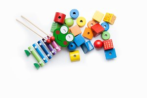 Toys blocks, multicolor wooden building bricks, heap of colorful