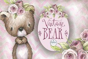 Vintage bear clipart
