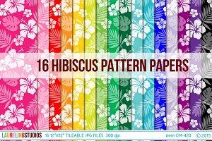 Hibiscus Digital Paper Background