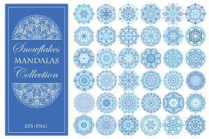 Blue Snowflake Mandalas Set