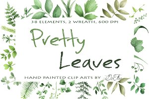 Pretty Leaves Watercolor Clip Art