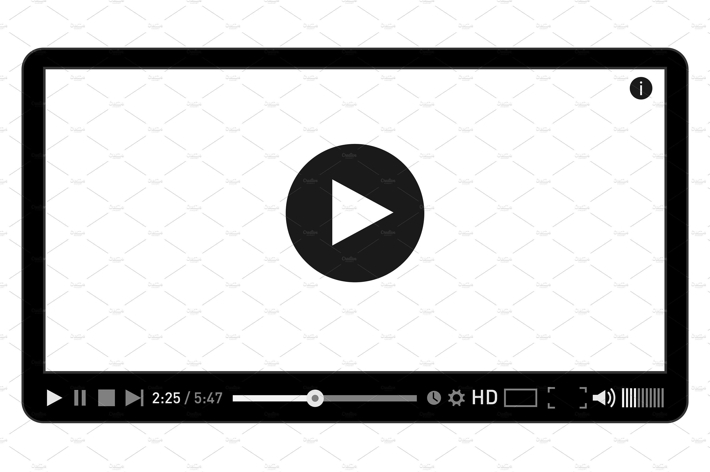 Modern video player design template ~ Web Elements