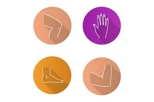 Body parts flat linear long shadow icons set