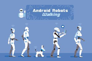 Android Robots Walking