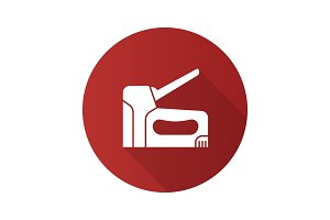 Construction stapler flat design long shadow glyph icon