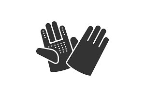 Construction gloves glyph icon