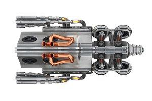 Sci-fi engine machine, top view