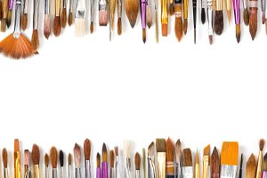 Artistic brushes lined in a row