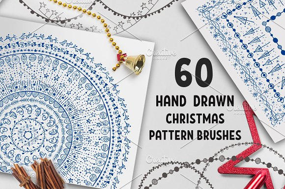 60 Christmas Pattern Brushe-Graphicriver中文最全的素材分享平台