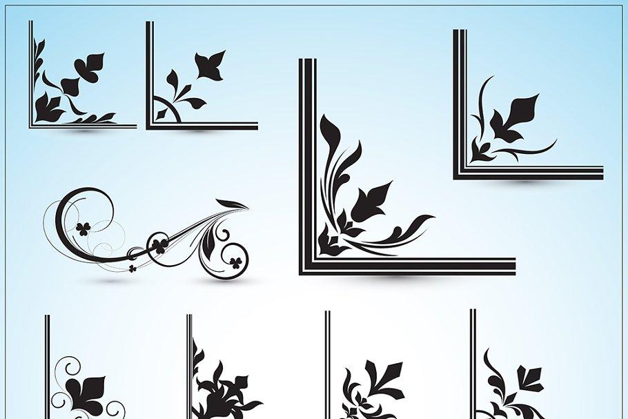 Corner Floral Designs Vectors