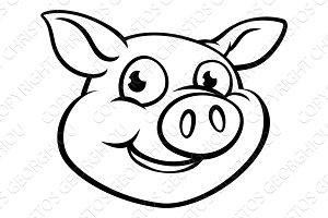 Cartoon Pig Character Mascot