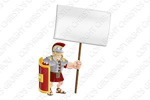 Tough Roman soldier holding sign board