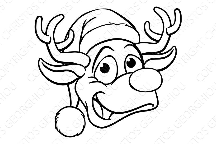 6637aa043254a Christmas Santa Hat Reindeer ~ Illustrations ~ Creative Market