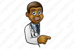 Doctor Cartoon Character Pointing Sign