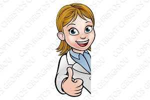 Scientist Cartoon Character Thumbs Up Sign